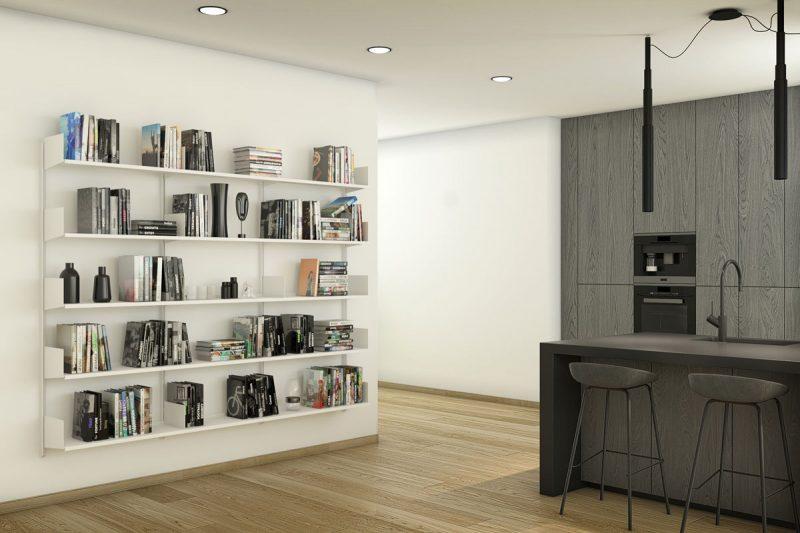 Pallucco Continua white kitchen modular wall bookcase