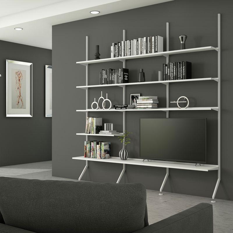 Pallucco Continua white living room modular bookcase squared