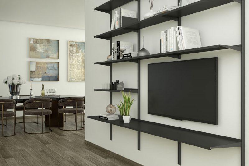 Pallucco Continua black living room modular wall bookcase