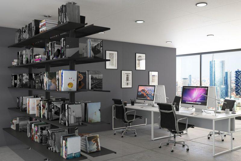 Pallucco Continua black modular double face office bookcase