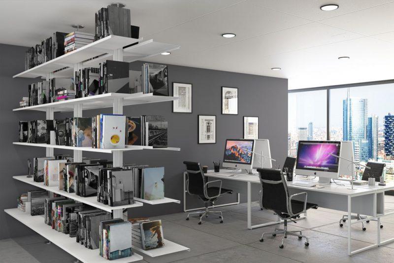 Pallucco Continua white modular double face office bookcase
