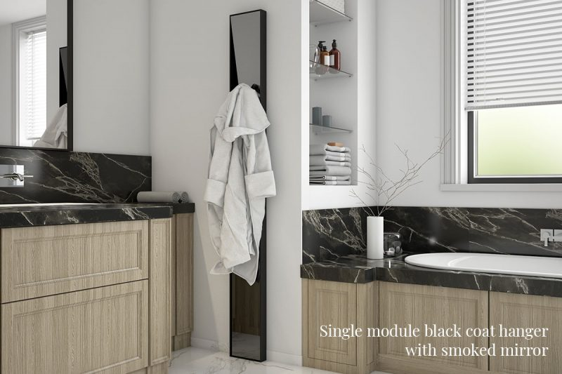 Single-module black coat hanger Pallucco Lagronda with smoked mirror