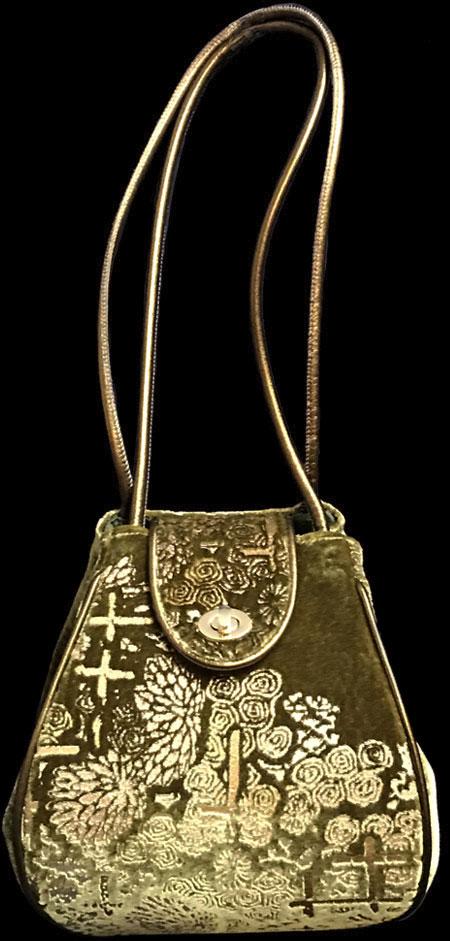 Fortuny Moretta green printed velvet bag