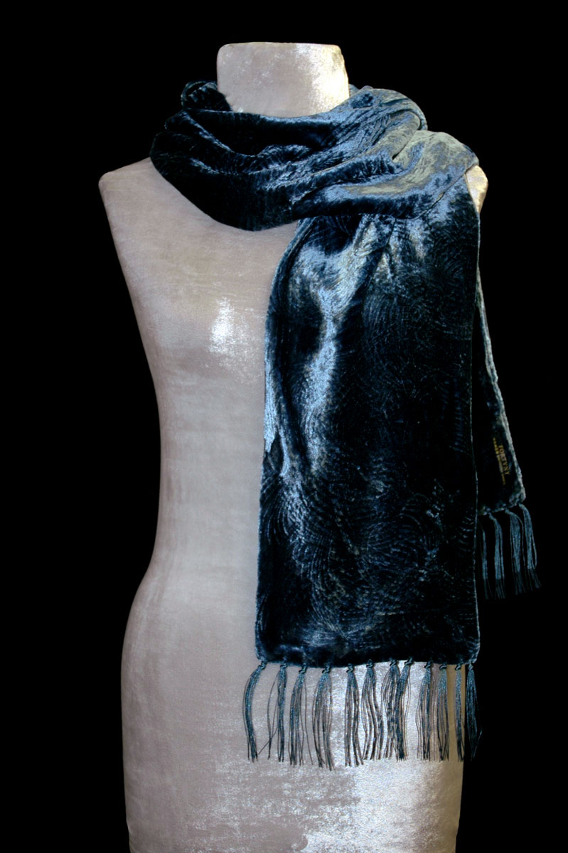 Fortuny candy blue furrowed velvet scarf with fringes