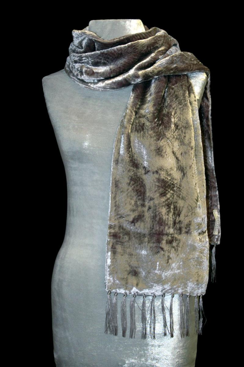 Fortuny olive sand furrowed velvet scarf with fringes