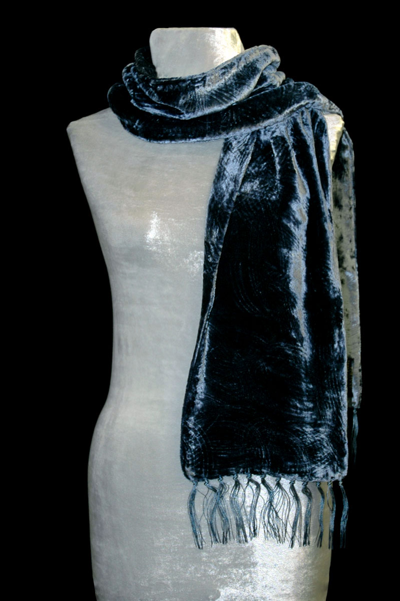 Fortuny prussian blue furrowed velvet scarf with fringes