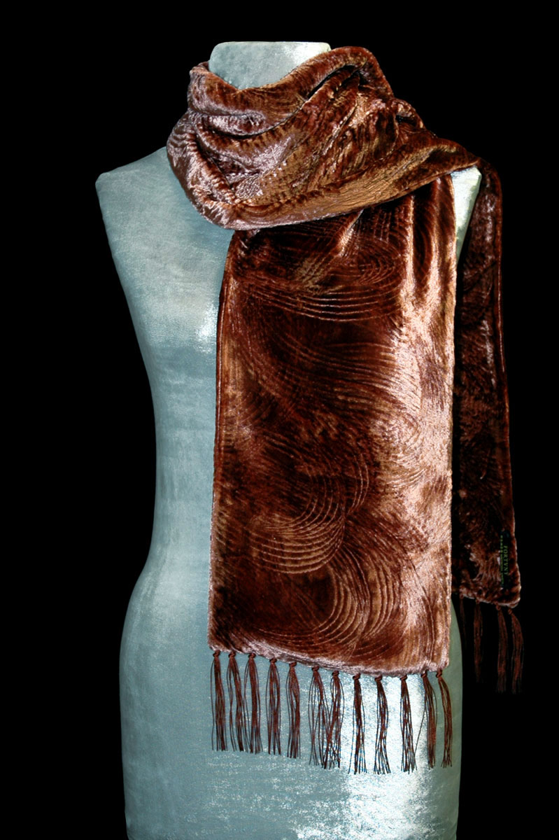 Fortuny rust furrowed velvet scarf with fringes