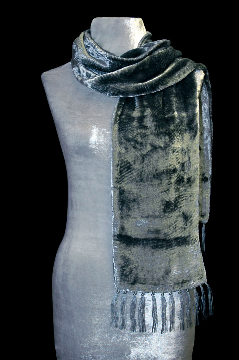 Fortuny sage green furrowed velvet scarf with fringes