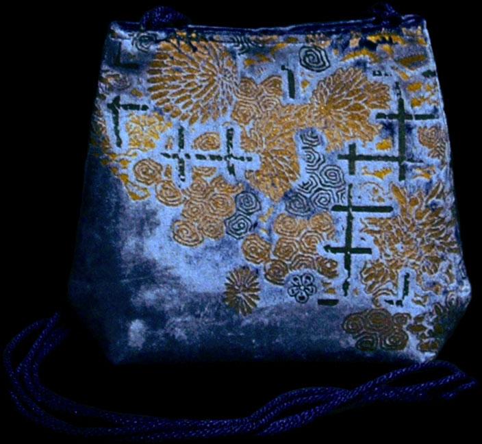 Fortuny Gioia blue hand printed velvet bag