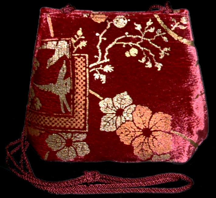 Fortuny Gioia carmine red hand printed velvet bag