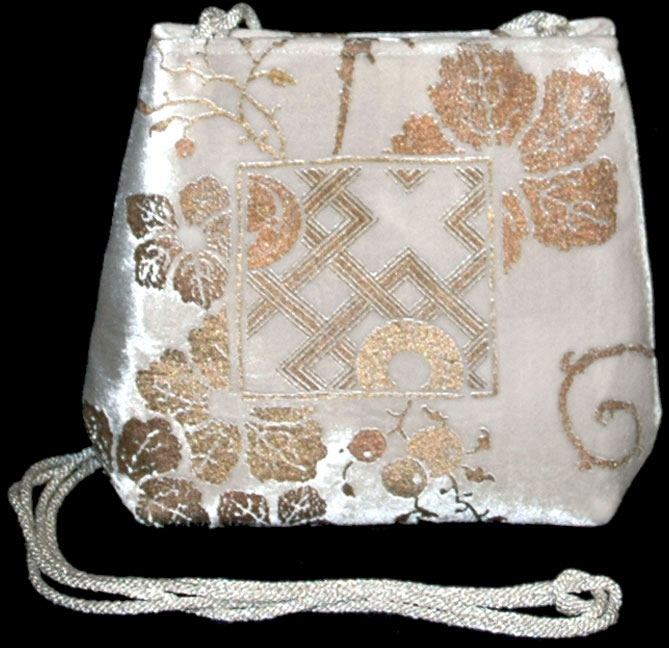 Fortuny Gioia white hand printed velvet bag