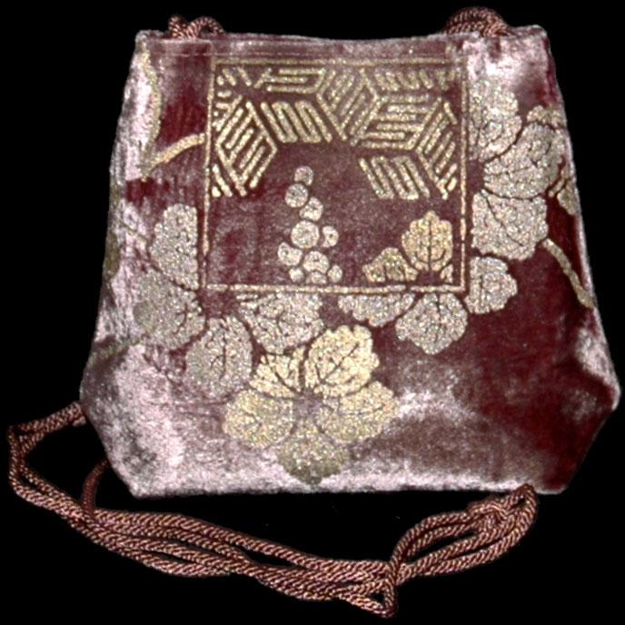 Fortuny Gioia mauve hand printed velvet bag