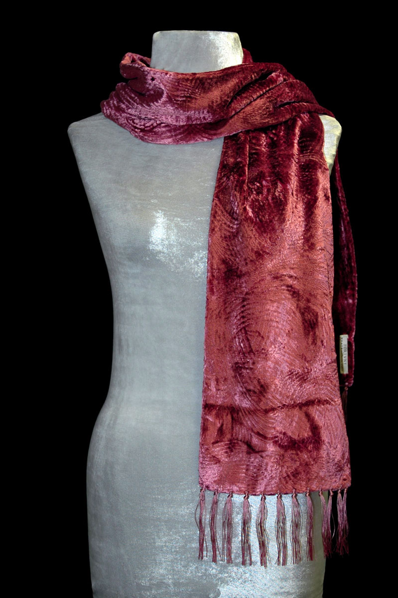 Fortuny cinnamon furrowed velvet scarf with fringes