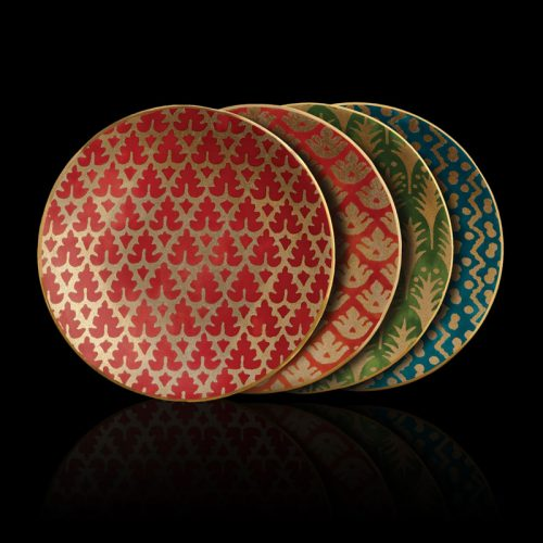 Fortuny assorted colors tableware canape plates set of 4