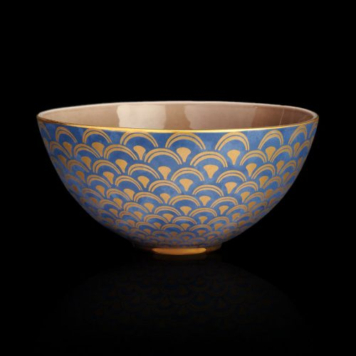 Fortuny tableware Papiro teal blue large serving bowl