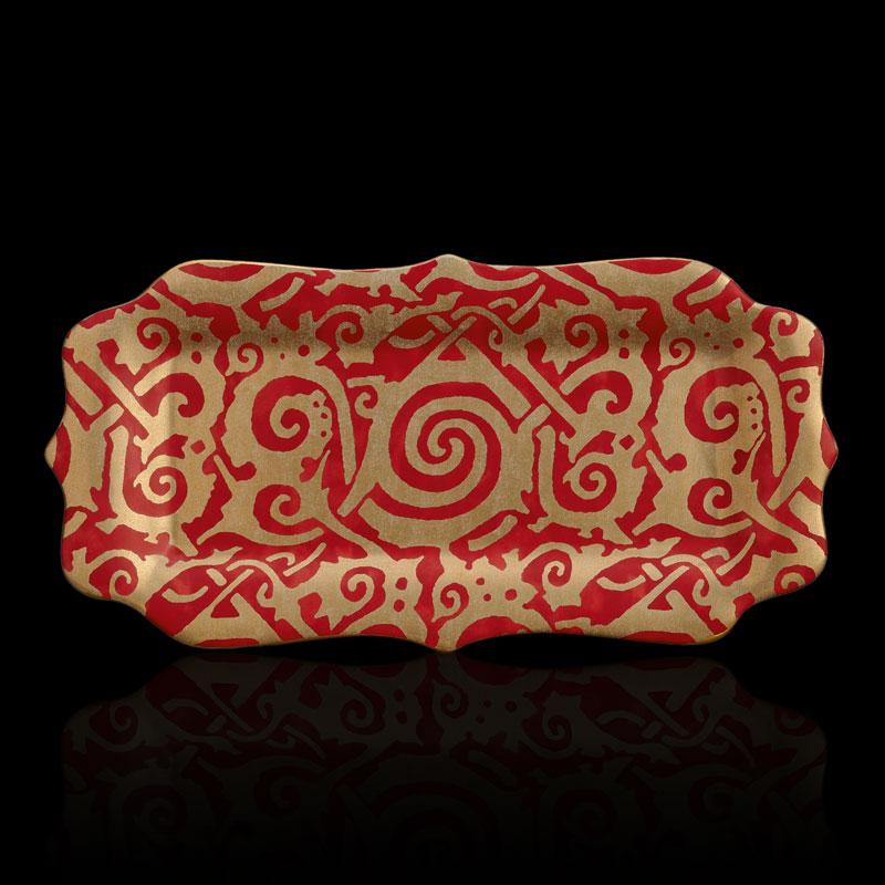 Fortuny rectangular medium maori red platter