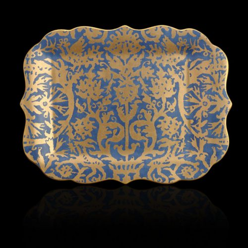 Fortuny Pergolesi rectangular teal blue large platter