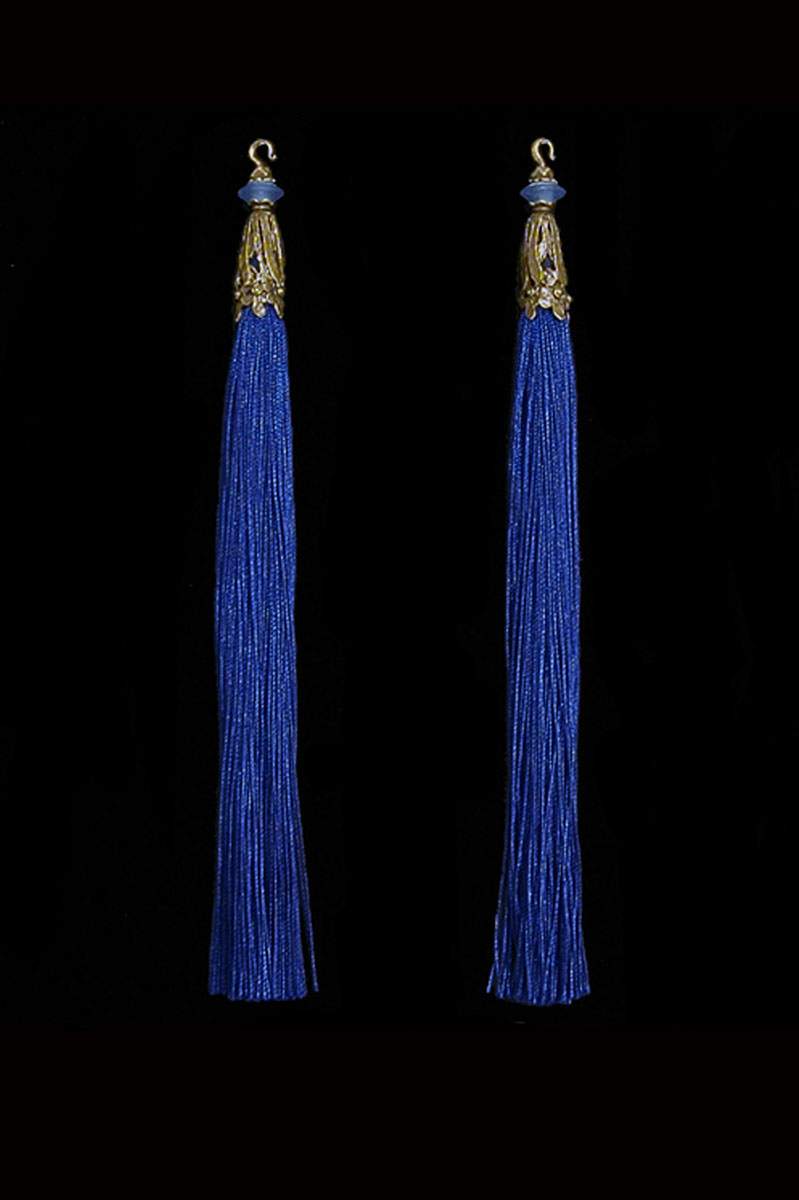 Venetia Studium couple of prussian blue hook tassels