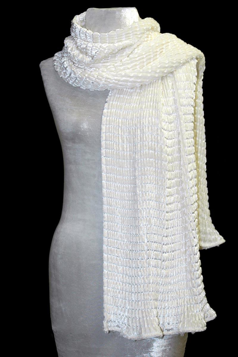 Fortuny white pleated velvet scarf