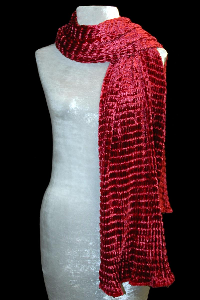 Fortuny carmine red pleated velvet scarf
