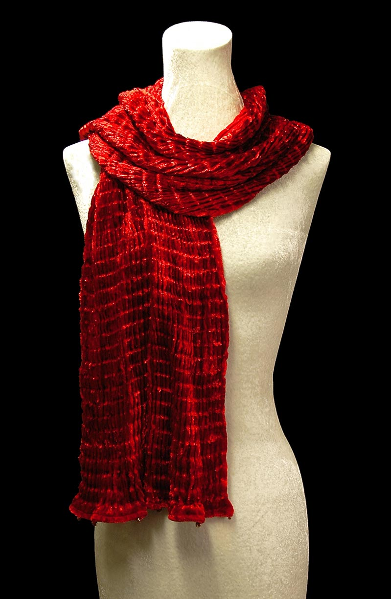 Fortuny red pleated velvet scarf
