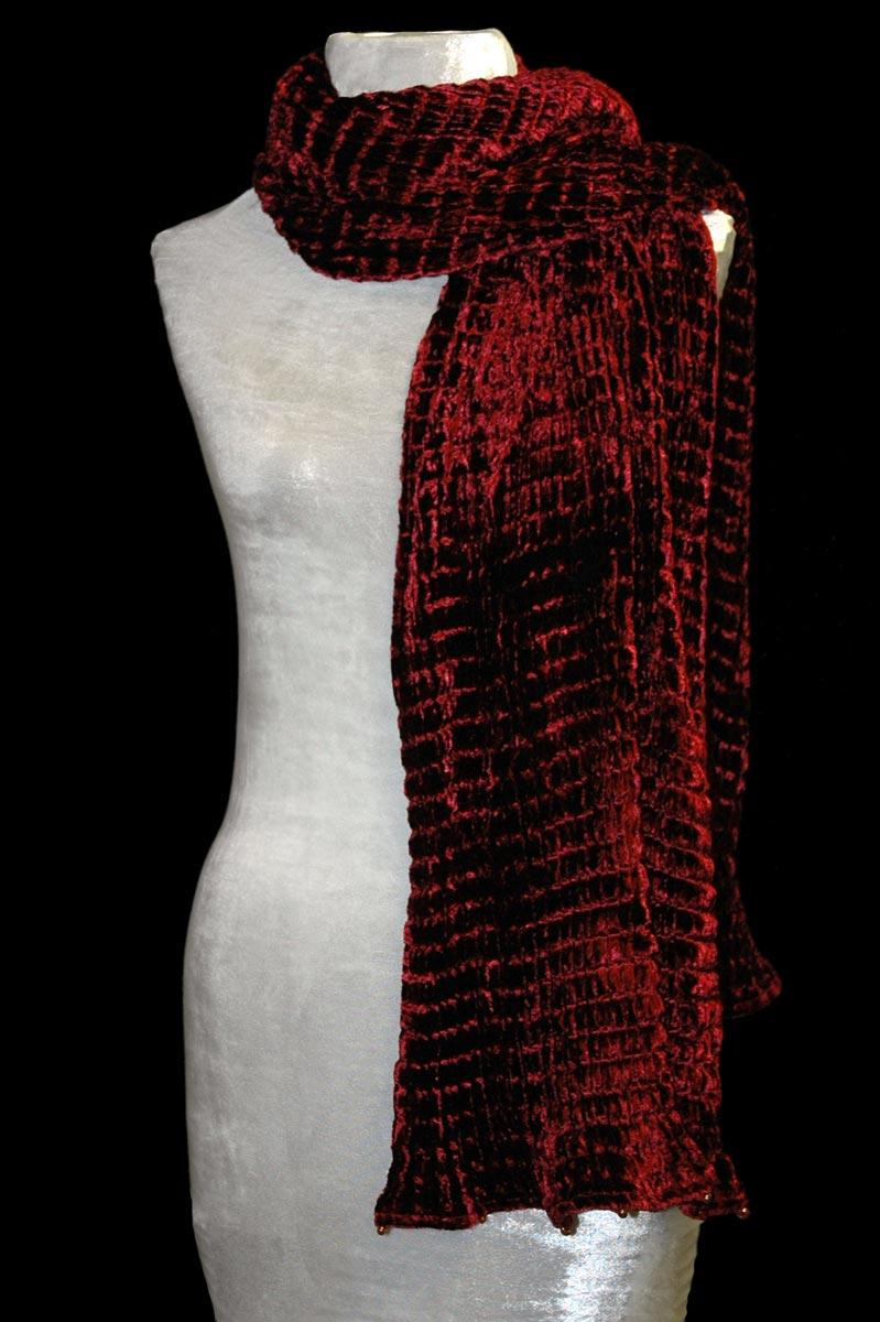 Fortuny dark red pleated velvet scarf
