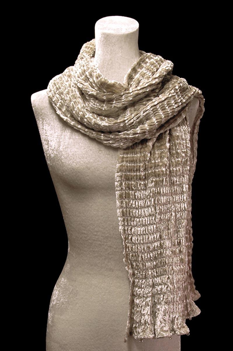 Fortuny beige pleated velvet scarf