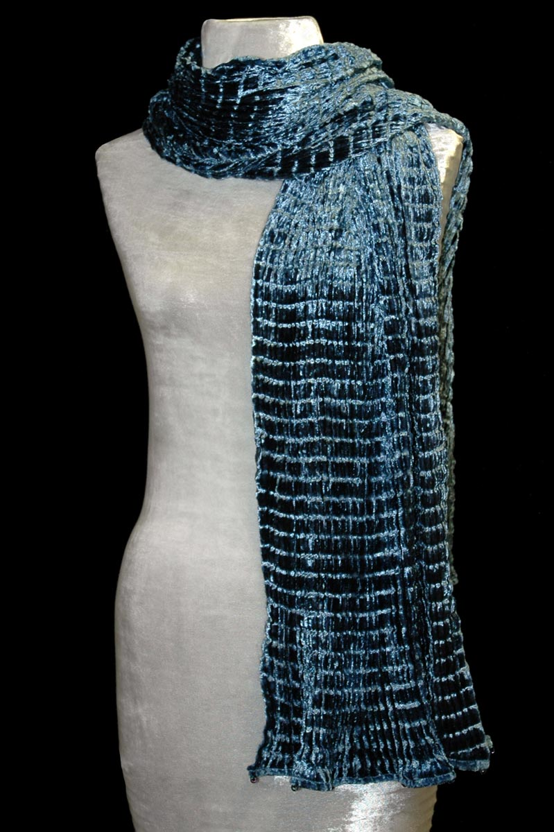 Fortuny prussian blue pleated velvet scarf