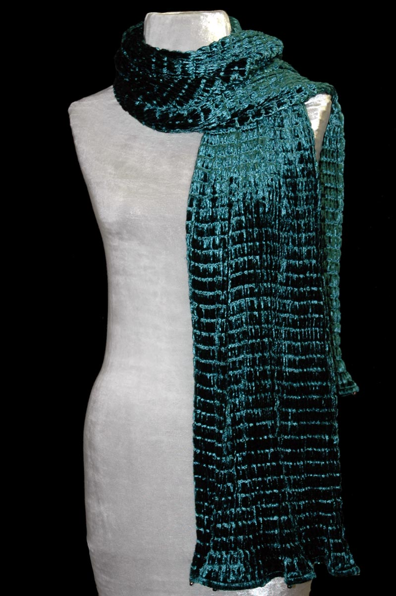 Fortuny dark blue teal pleated velvet scarf