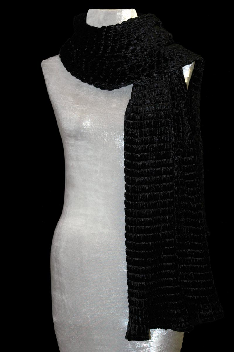 Fortuny black pleated velvet scarf