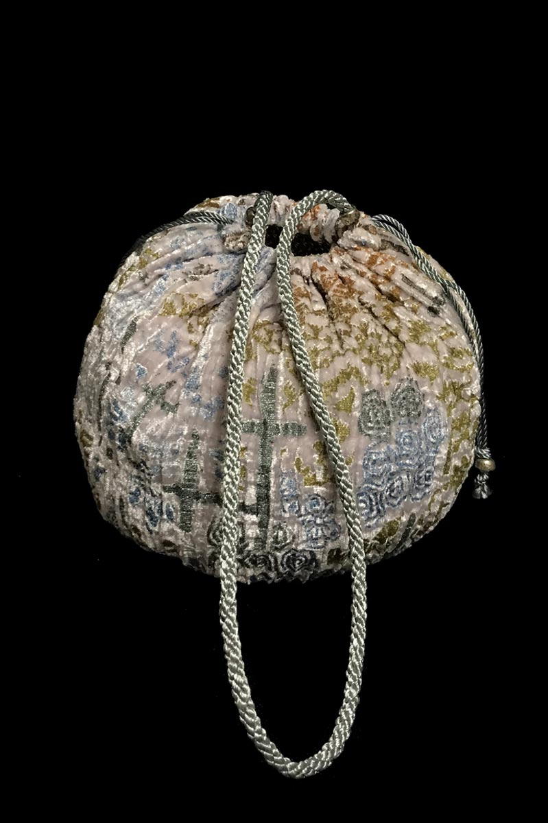 Fortuny round velvet bag