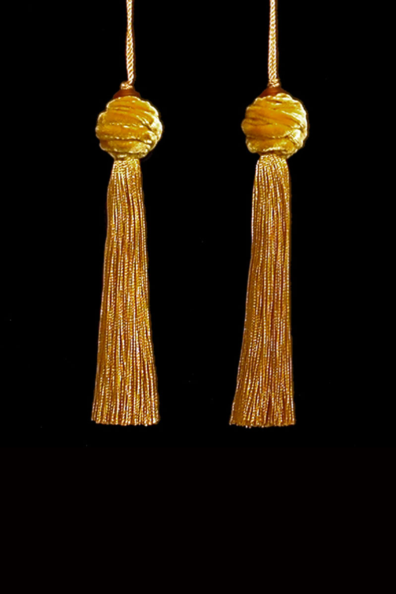 Venetia Studium Turbante couple of yellow ochre key tassels