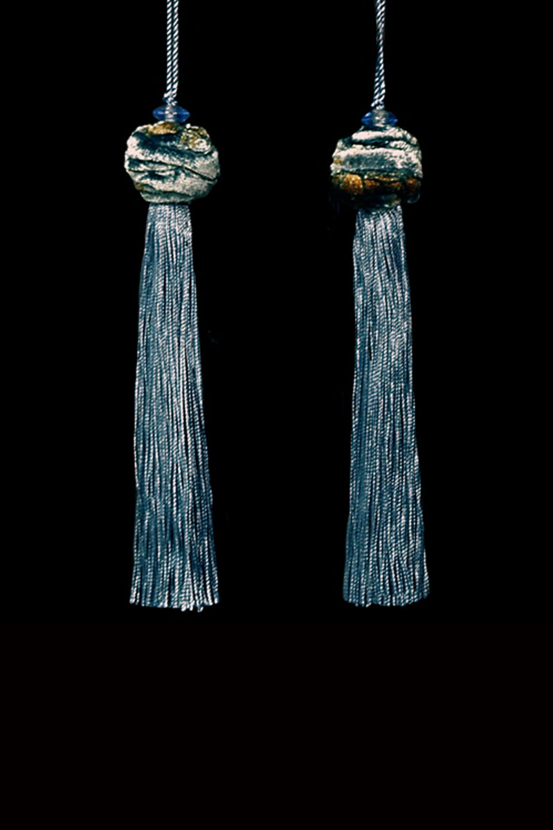 Venetia Studium Turbante couple of slate blue key tassels