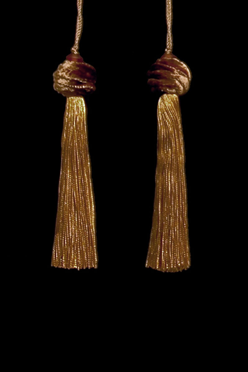 Venetia Studium Turbante couple of brown gold key tassels