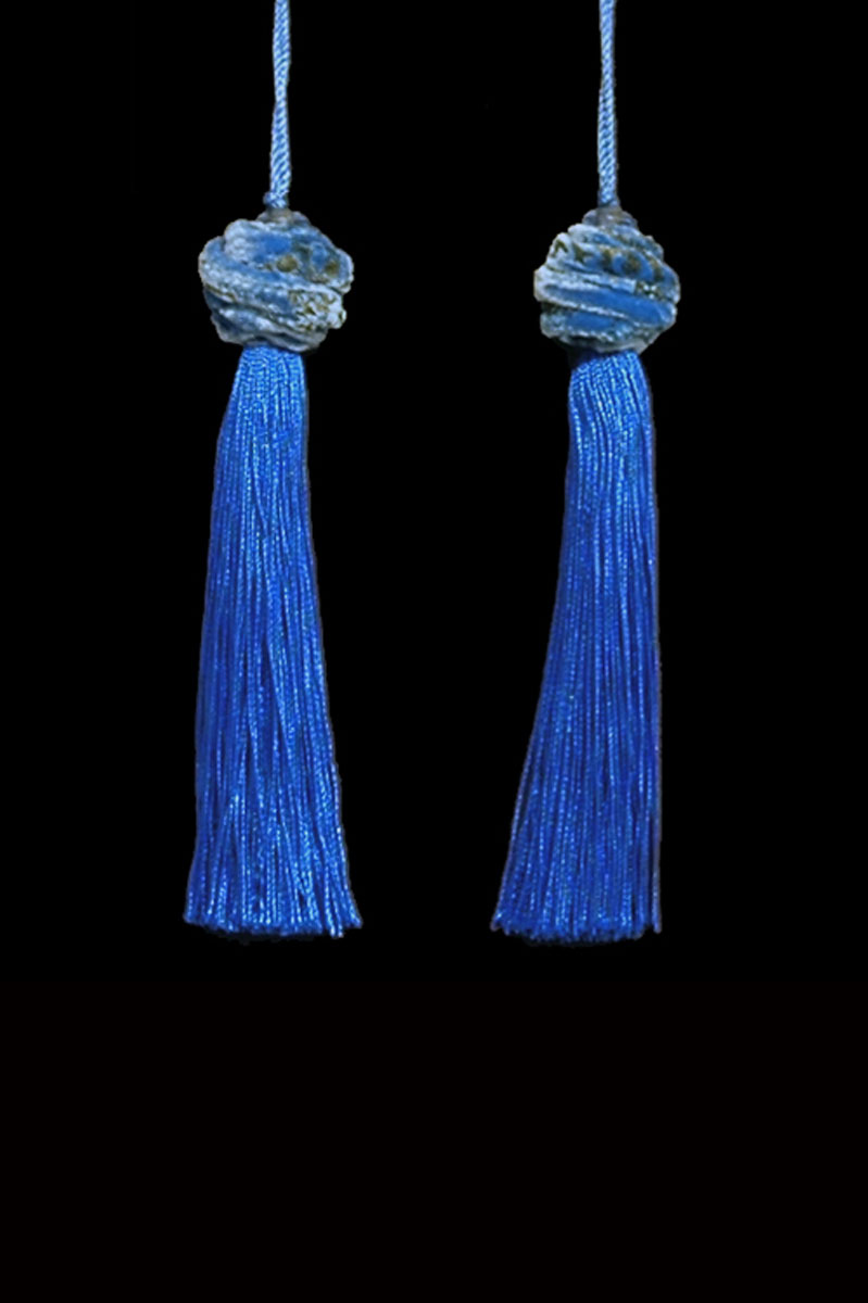 Venetia Studium Turbante couple of cobalt blue key tassels