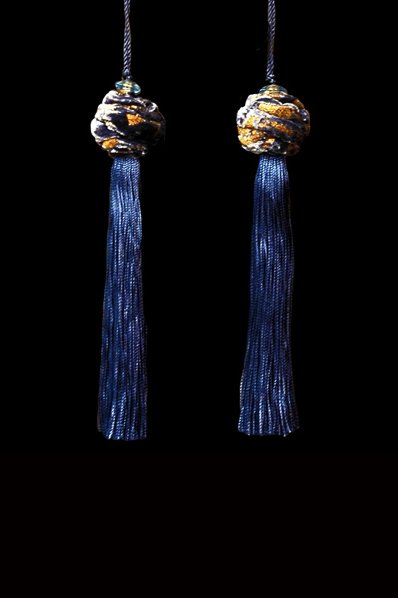 Venetia Studium Turbante couple of prussian blue key tassels