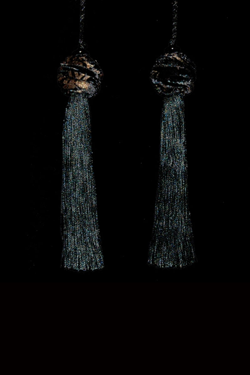 Venetia Studium Turbante couple of black key tassels