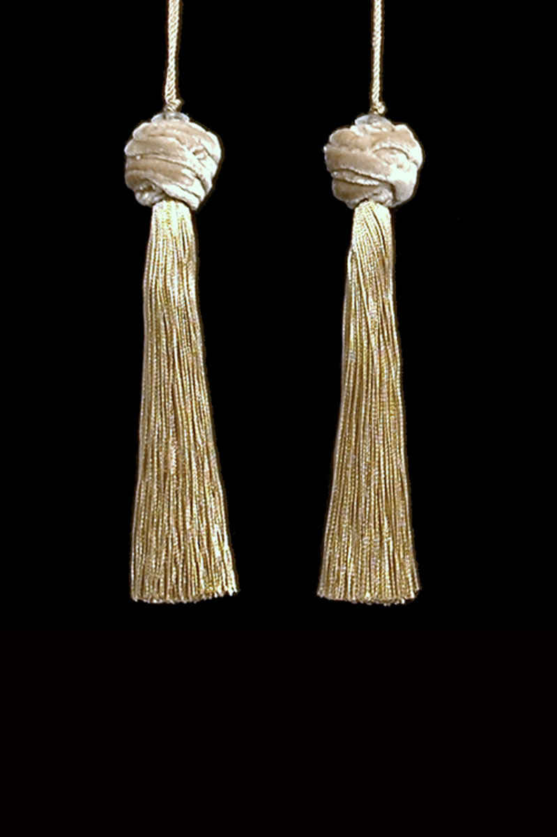 Venetia Studium Turbante couple of golden beige key tassels