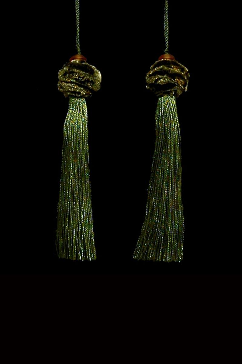 Venetia Studium Turbante couple of olive green key tassels