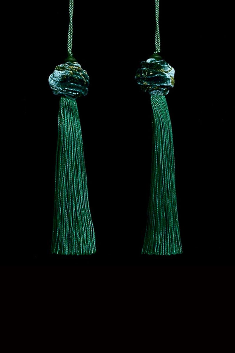 Venetia Studium Turbante couple of holly green key tassels