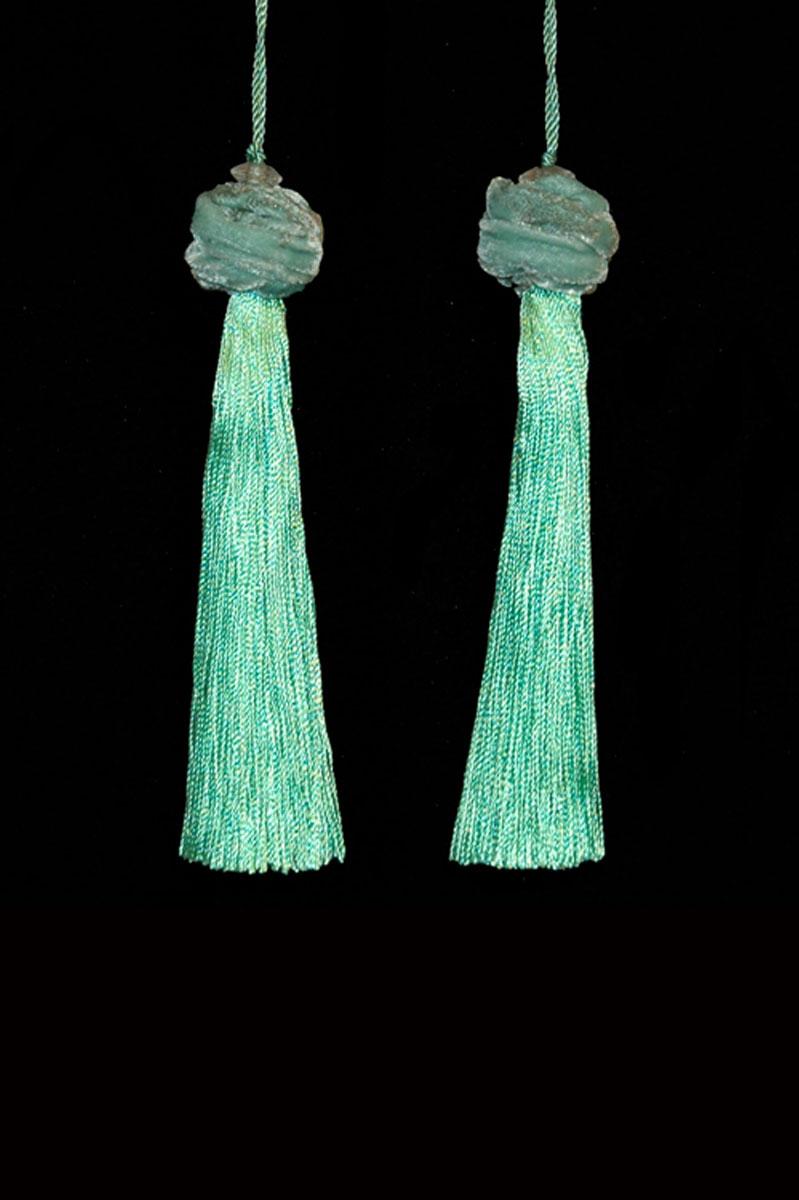 Venetia Studium Turbante couple of ice green key tassels