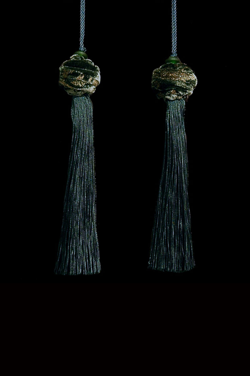 Venetia Studium Turbante couple of jungle green key tassels