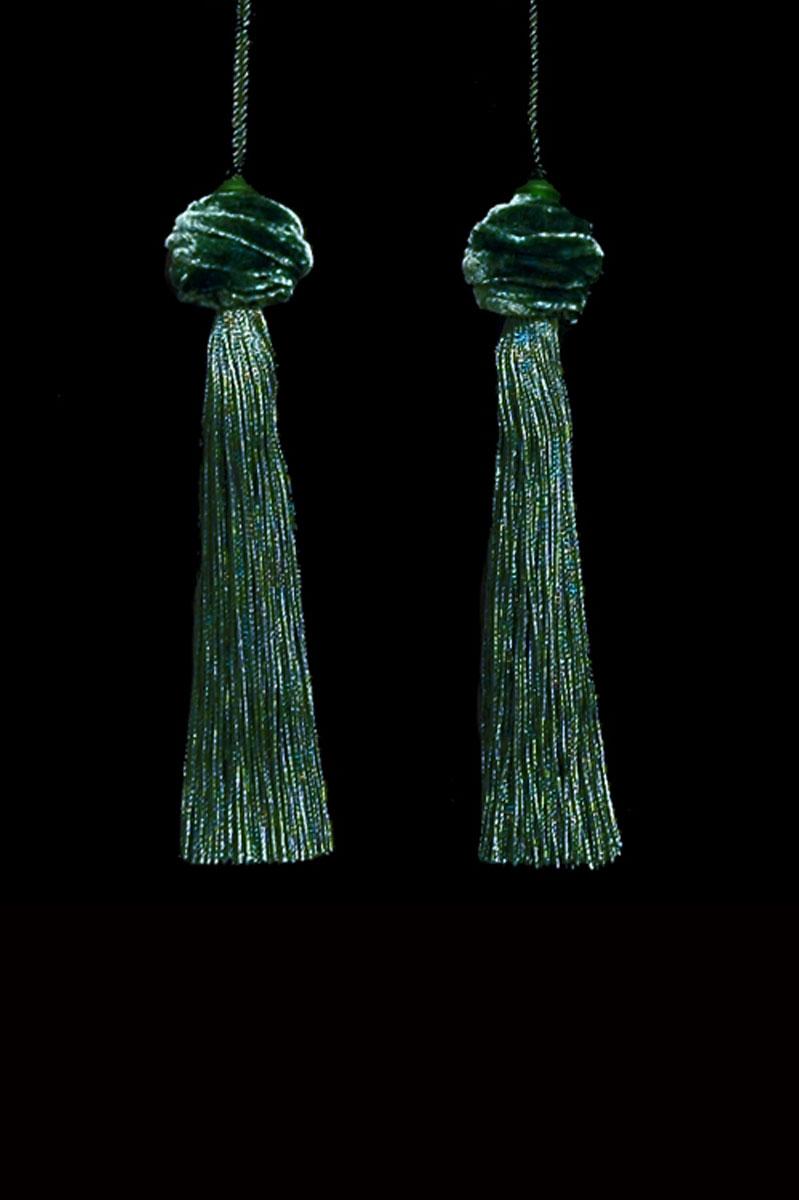 Venetia Studium Turbante couple of bottle green key tassels