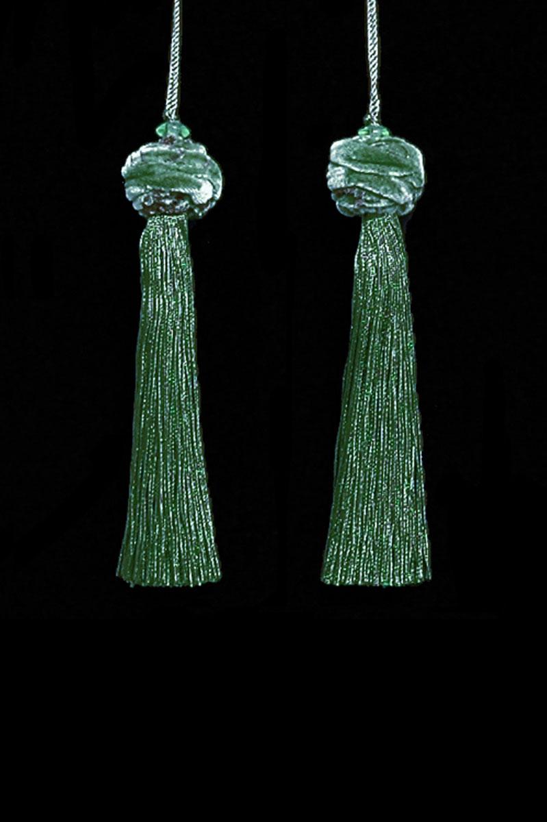 Venetia Studium Turbante couple of slate green key tassels