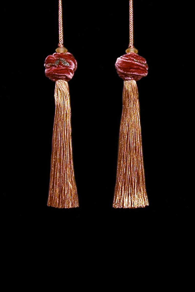 Venetia Studium Turbante couple of dark salmon key tassels