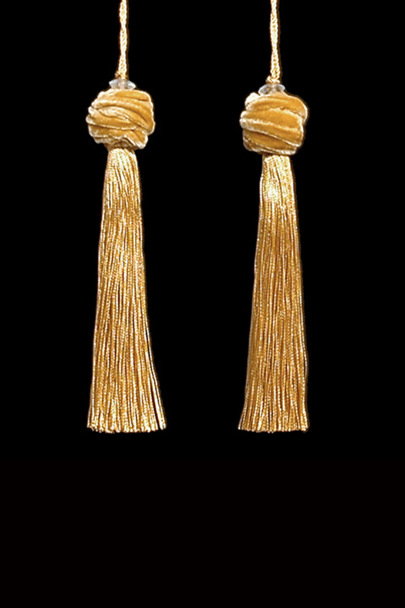 Venetia Studium Turbante couple of pale gold key tassels