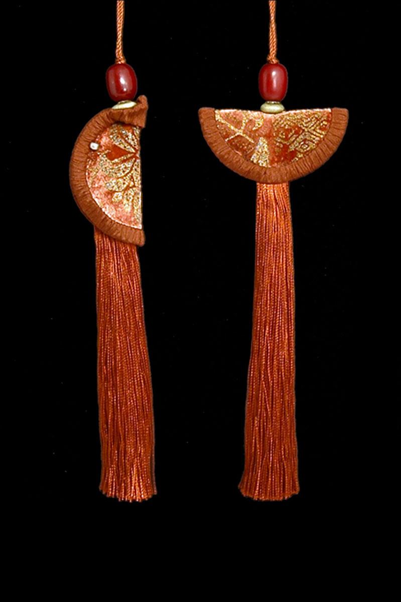 Venetia Studium couple of terracotta Geisha & Samurai key tassels