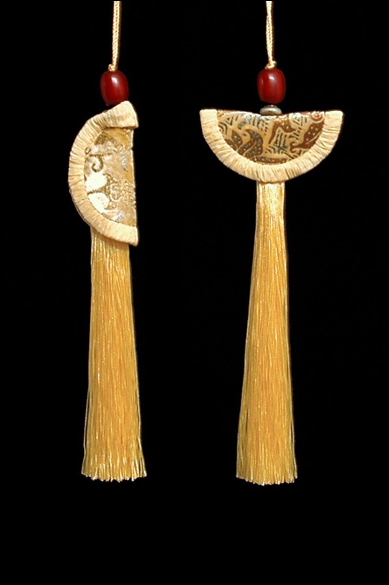 Venetia Studium couple of cream Geisha & Samurai key tassels
