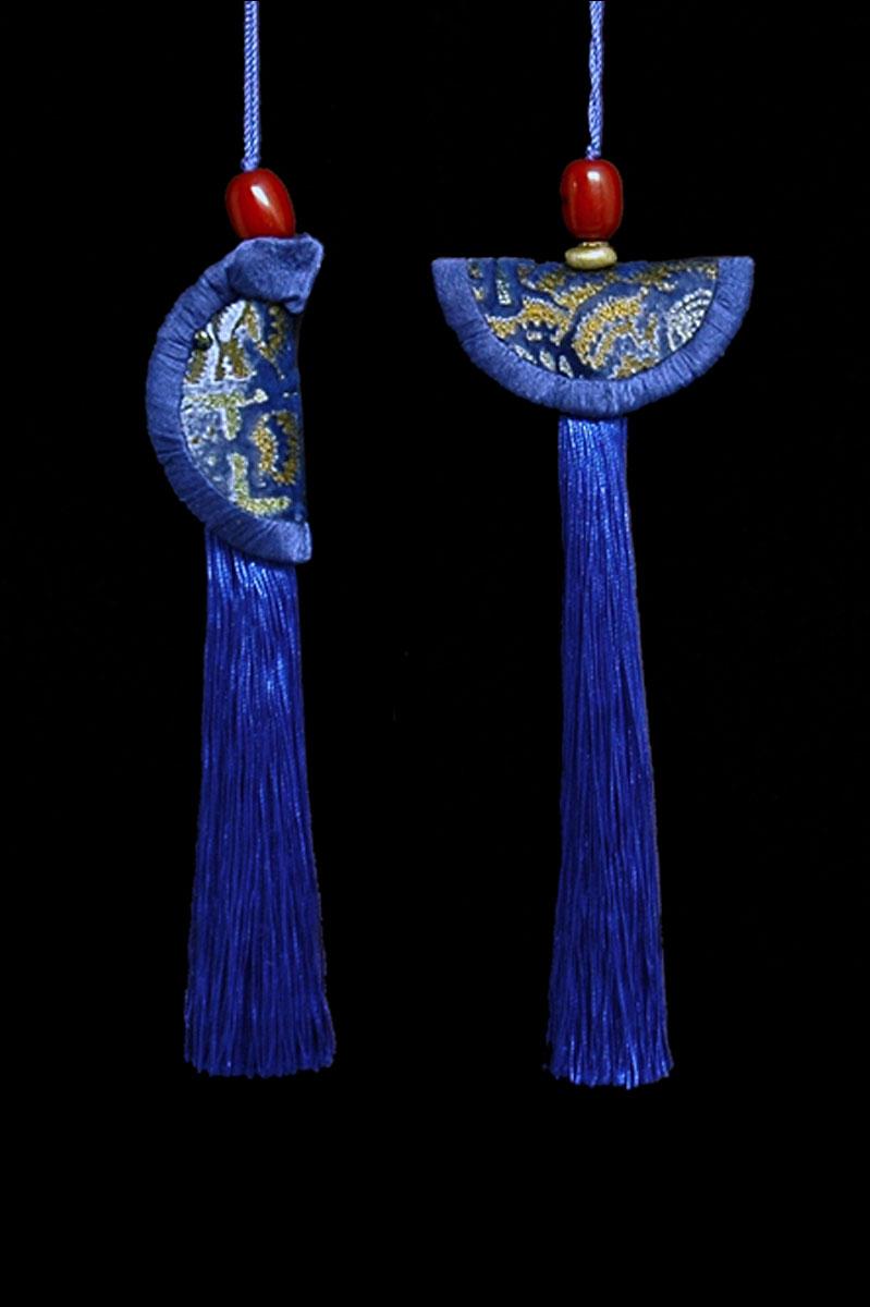 Venetia Studium couple of byzantine blue Geisha & Samurai key tassels