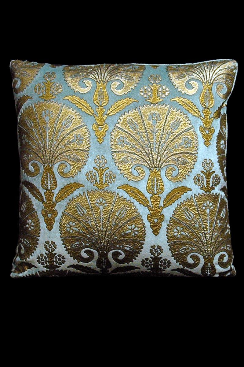 Venetia Studium Istanbul square light blue printed velvet cushion front